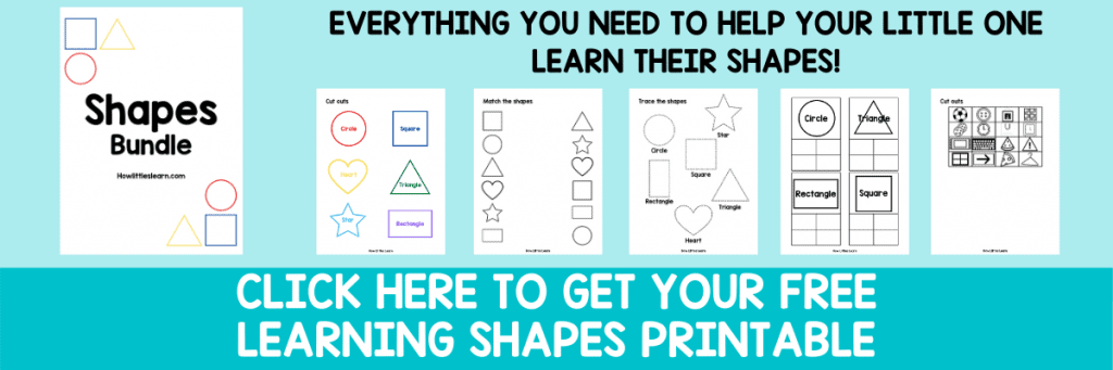 learn your shapes toddler or preschool printable